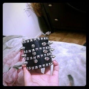 Unisex Black Spike Studded Punk Rock bracelet